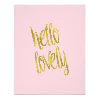 Hello Lovely Quote Faux Gold Foil Sparkle Design Photo Print