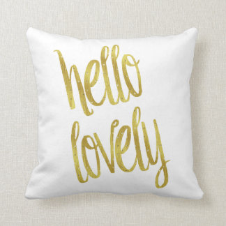 Hello Lovely Quote Faux Gold Foil Sparkle Design Throw Pillows
