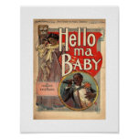 Hello ma Baby, Sheet Music 1900 Vintage Poster