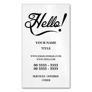 Hello Magnetic Business Cards (Pack Of 25)
