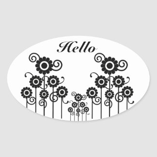 Hello, Meadow, black & white floral oval stickers