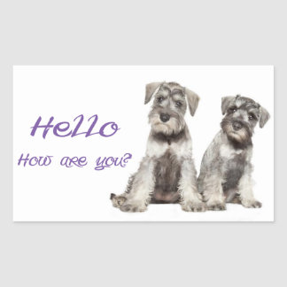 Hello Miniature Schnauzer Puppy Dog  ticker  Label