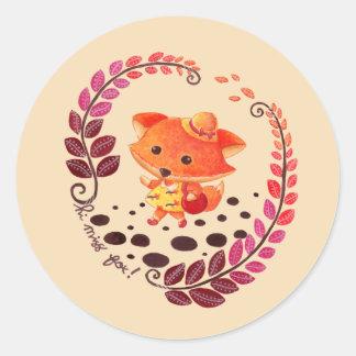 Hello, Miss Fox! Classic Round Sticker