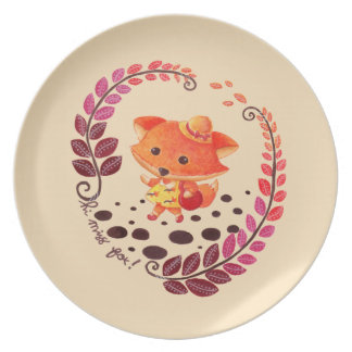Hello, Miss Fox! Melamine Plate