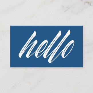 Hello Modern White Script on Blue Business Card