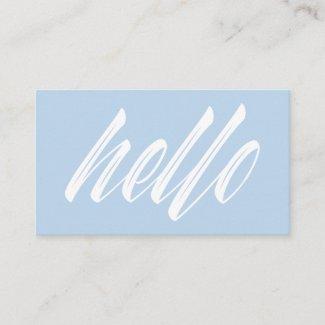 Hello Modern White Script on Light Blue Business Card