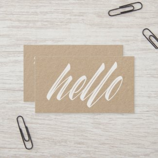 Hello Modern White Script Rustic Kraft Business Card