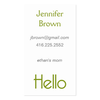 Hello Mommy Calling Card Double-Sided Standard Business Cards (Pack Of 100)