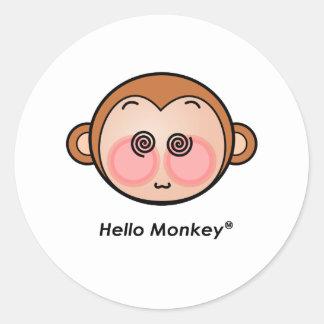 Hello Monkey dazzling Classic Round Sticker