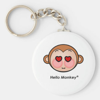Hello Monkey heart eyes Basic Round Button Keychain