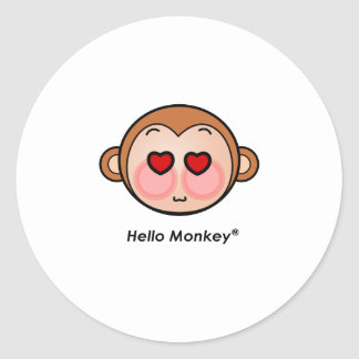 Hello Monkey heart eyes Classic Round Sticker