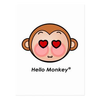 Hello Monkey heart eyes Postcard