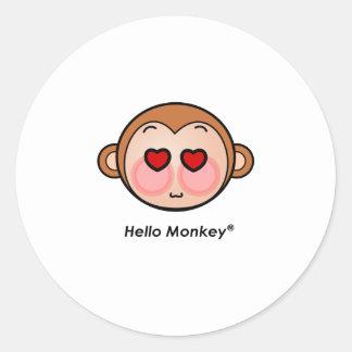 Hello Monkey heart eyes Round Sticker