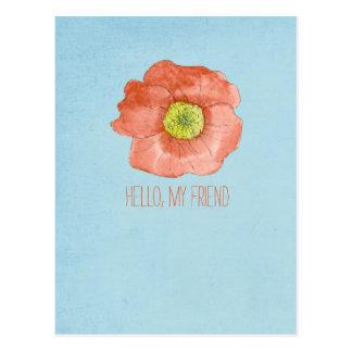 Hello My Friend Postcard Red Poppy Flower Art