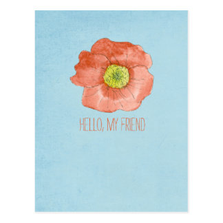 Hello My Friend Red Poppy Watercolor Flower Art Postcard