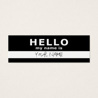 Hello My Name Is 2 Sided Black Amp White Mini Business Card