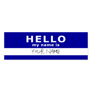 hello my name is : 2-sided : blue Double-Sided mini business cards (Pack of 20)