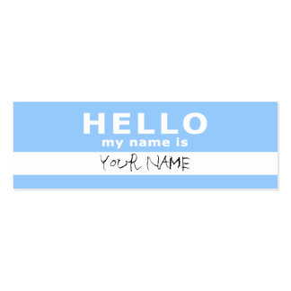 hello my name is : 2-sided : light blue Double-Sided mini business cards (Pack of 20)