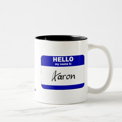Hello My Name Is Aaron (Blue) Two-Tone Coffee Mug