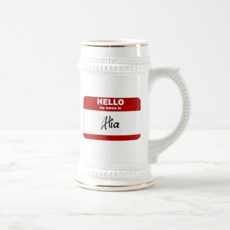 Hello My Name Is Alia (Red) 18 Oz Beer Stein