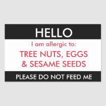 Hello My Name is Allergic To Kids Custom Allergy Rectangular Sticker