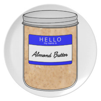 Hello My Name is Almond Butter Dinner Plate