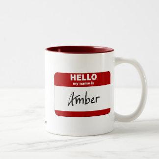 Hello My Name Is Amber (Red) Two-Tone Coffee Mug