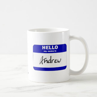 Hello My Name Is Andrew (Blue) Classic White Coffee Mug