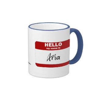 Hello My Name Is Aria (Red) Mug