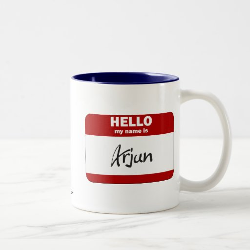 Hello My Name Is Arjun (Red) Mug