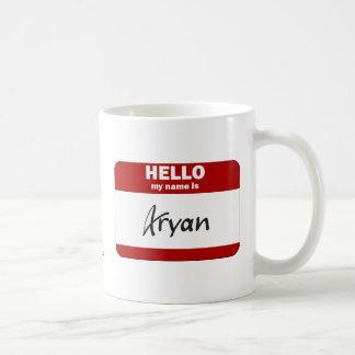 Hello My Name Is Aryan (Red) Coffee Mug