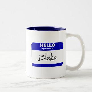 Hello My Name Is Blake (Blue) Two-Tone Coffee Mug