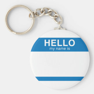 Hello My Name Is - Blue Keychain