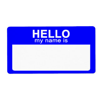 Hello My Name is, Blue Name Tag Labels