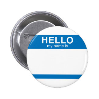 Hello My Name Is - Blue Pinback Buttons