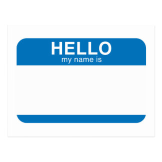 Hello My Name Is - Blue Postcards