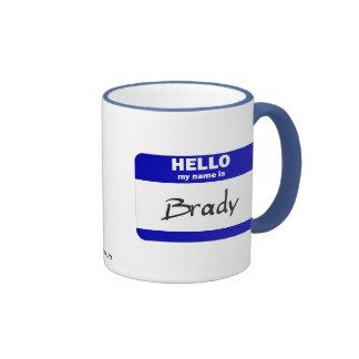 Hello My Name Is Brady (Blue) Ringer Mug