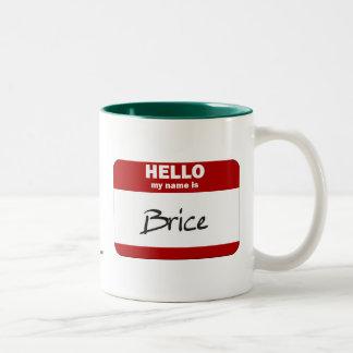 Hello My Name Is Brice (Red) Two-Tone Coffee Mug