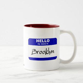 Hello My Name Is Brooklyn (Blue) Two-Tone Coffee Mug