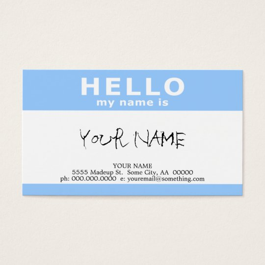hello my name is : business card