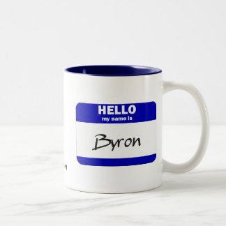 Hello My Name Is Byron (Blue) Two-Tone Coffee Mug