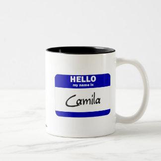 Hello My Name Is Camila (Blue) Two-Tone Coffee Mug