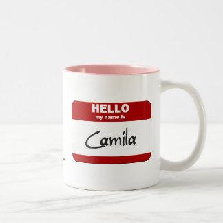 Hello My Name Is Camila (Red) Two-Tone Coffee Mug
