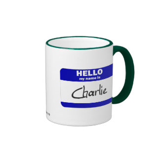 Hello My Name Is Charlie (Blue) Ringer Mug