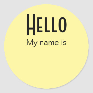 Hello, My Name Is Classic Round Sticker
