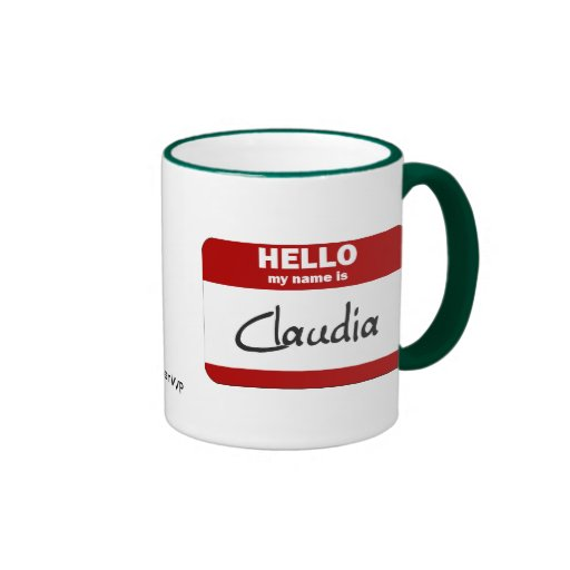 Hello My Name Is Claudia (Red) Ringer Coffee Mug