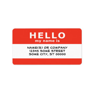 hello my name is : custom address labels