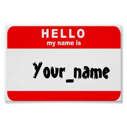 Dramatic image pertaining to hello my name is printable