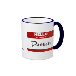 Hello My Name Is Damien (Red) Mugs
