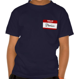 Hello My Name Is Damien (Red) T Shirts